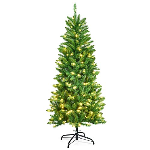 Goplus 5ft Pre-lit Artificial Christmas Tree, Hinged Fir Pencil Christmas Tree with Lights, Perfect Xmas Decoration for Indoor and Outdoor