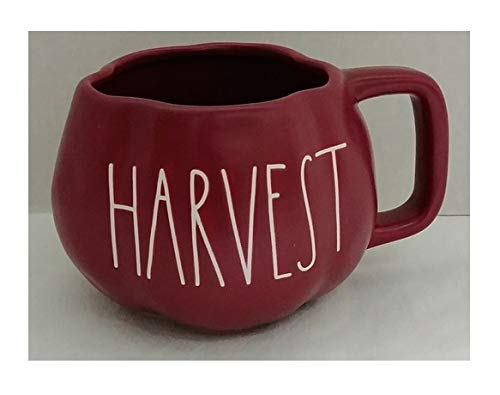 Rae Dunn Artisan Collection by Magenta Harvest Solid Maroon Pumpkin Shaped Coffee Tea Mug LL
