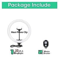 Tiktok YouTube Live Ringlight Photo Studioのためのモバイルホルダーの三脚スタンドLEDが付いているSelfieリングライト写真ライトランプ (Color : 33cm Lamp)