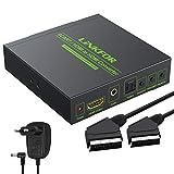 Convertidor Scart a HDMI 1080P Adapdator SCART + HDMI a HDMI Compatible con RGB (50 / 60Hz) y CVBS (NTSC/PAL) con Entrada 3.5mm y Audio Coaxial 2.0CH para HDTV STB PS3 Sky BLU-Ray DVD