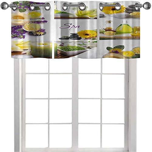 Valance, Yellow Happy Peaceful Spa Day with Flowers Candles and Herbal Oils Art, 36'W x 18'L Valances for Living Room, Yellow Purple and White