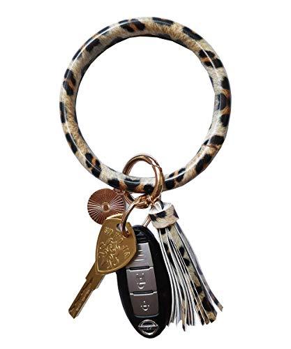 Weixiltc Wristlet Keychain Leather Tassel Bracelet Holder Large Circle Key For Women Girl (Leopard)
