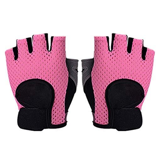 Njuyd - Guantes finos de malla transpirable para mujer, para entrenamiento de gimnasio, levantamiento de pesas, yoga, antideslizantes, acolchados, deportes, entrenamiento, guantes cortos