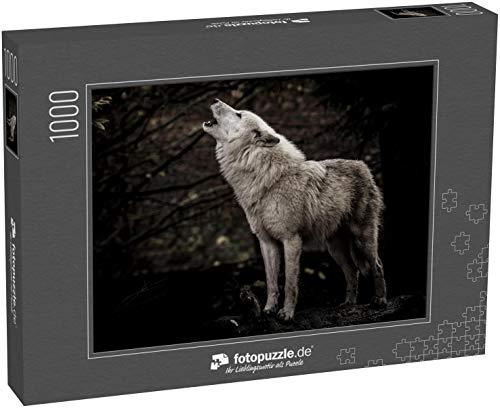 Puzzle 1000 Teile Heulender Wolf im Dunkeln - Klassische Puzzle, 1000/200/2000 Teile, in edler Motiv-Schachtel, Fotopuzzle-Kollektion \'Tiere\'