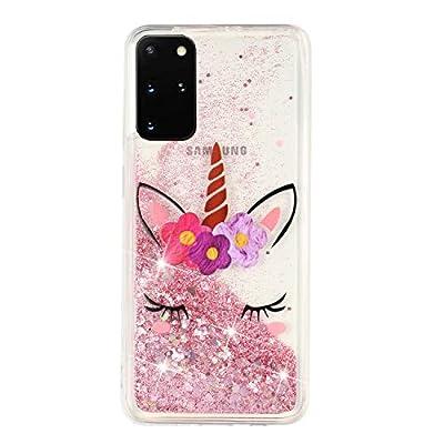 HopMore Glitter Funda para Samsung Galaxy S20 Plus / S20 Plus 5G Purpurina Silicona Cover 3D Liquido Brillante Dibujos Transparente Carcasa Resistente (Borde Antigolpes) Case Protección - Unicornio