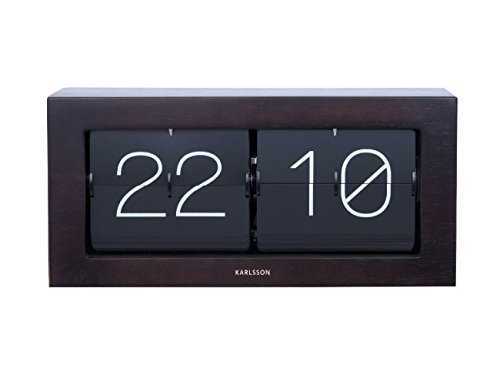 Karlsson KA5642DW Tisch - / Wanduhr Flip Clock XL - Quartzuhrwerk - Holz - Zifferblatt schwarz 17,5 x 37 x 9 cm