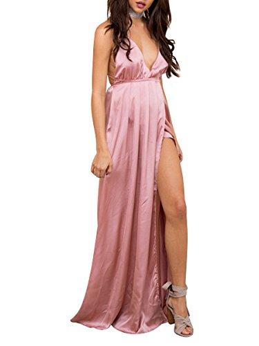 Simplee Apparel Damen Partykleid Sexy V-Ausschnitt Rückenfrei Maxi Lang Satin Träger Kleid Abendkleid Cocktailkleid Rosa
