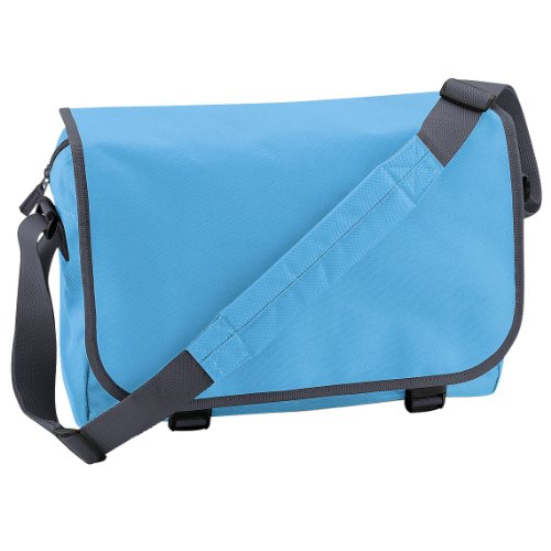 BagBase Messenger Bag, Surf Blue / Graphite Grey, ca. 41 x 31 x 12 cm