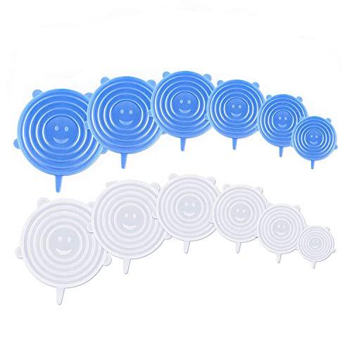 YOUYIKE® Silikon Stretch Deckel -12 Stück Dehnbare Silikondeckel Stretch Lid Silikon Abdeckung in Verschiedenen Größen Wiederverwendbar Dauerhaft Erweiterbar - für Schüsseln,Becher,Dosen,Obst.