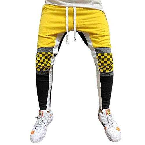 MäNner SpleißEn Gitter Overall Casual Pocket Sport Work Hosen Herren Jogginghose Trainingshose FüR Fitness Gym Training Slim Fit Sweatpants Streifen Jogging-Hose Stripe Pants(Gelb,M)
