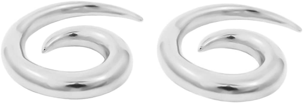 playful piercings Pair of Surgical Steel Spiral Tapered Hollow Hangers Plug Taper Ear Rings Plugs 8g 6g 4g 2g 0g 00G
