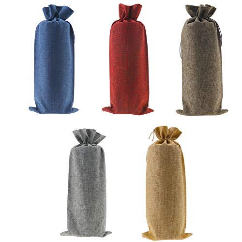YINETTECH 20 bolsas de vino con cordón de arpillera de 5 colores para regalo de boda