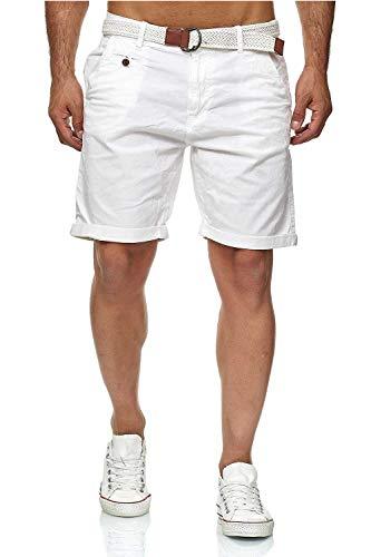 Indicode Conor - Bermuda da uomo con cintura, 100% cotone, vestibilità regolare bianco L
