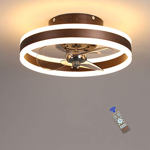 Ventilatore da soffitto LED Fan Plafoniera ventilatore da soffitto con luce e telecomando dimmerabile ventilatori da soffitto con lampada 60W Silenzioso Timer 6 velocità Per Camera da Letto Soggiorno