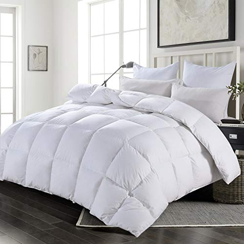 HOMBYS Super King Goose Down Comforter Duvet Insert Goose Feather Comforter 116 x 108 in Oversized 100% Cotton Cover Down Proof with Corner Tabs-116 x 108 inch Super King Size Down Comforter
