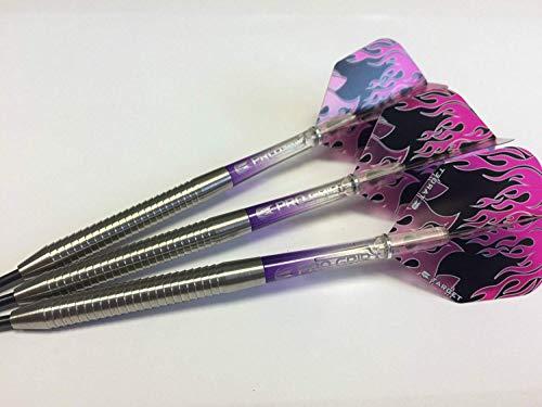 Wolfram Rasierer Darts Set, Target Vision violett Pro Griff & Flame Flights, Verschiedene Gewichte erhältlich