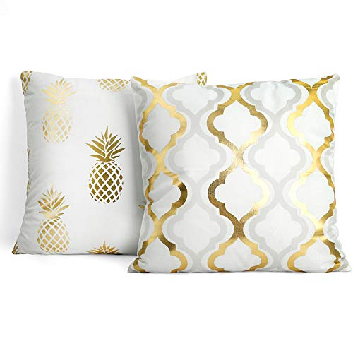Gillna Throw Pillow Cover Gold Foil Decorative Cushion Case Pineapple Geometric Pattern Soft Fabric 18