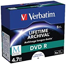 Verbatim DVD-R M-disc 4x 5 Pack inkjet printable, 43821 (5 Pack inkjet printable)