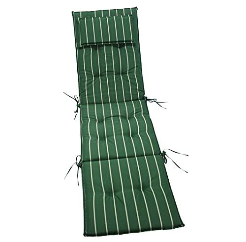 KMH®, Auflage für Relaxliege + Deckchair (tannengrün/mit gelben Streifen) (#105036)