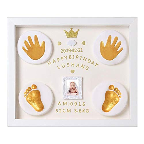 Nifyto Baby Handprint Footprint Ornament Keepsake Kit, Baby Nursery Memory Art Kit, Baby Shower Gifts, Xmas Gifts, Precious Moment for Newborn,Baby Boy/Girl, Personalized Baby Prints(White)