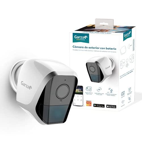 Garza ® Smarthome - Cámara de vigilancia exterior inalambrica Con Batería Inteligente Wifi, HD (2K), Visión Nocturna, Detección De Movimiento, Audio Bidireccional, Control Remoto a través de a