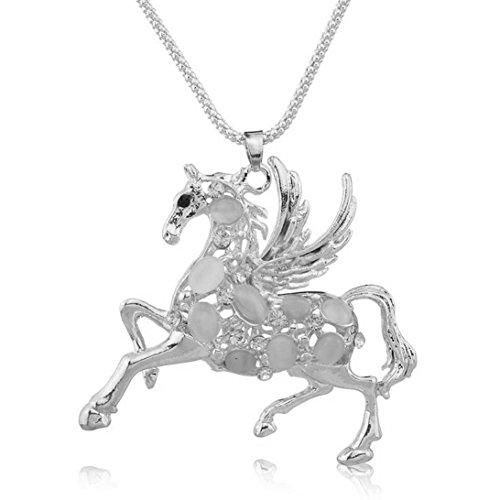 Halskette Anhänger Pferd Flügel Kristall Opal