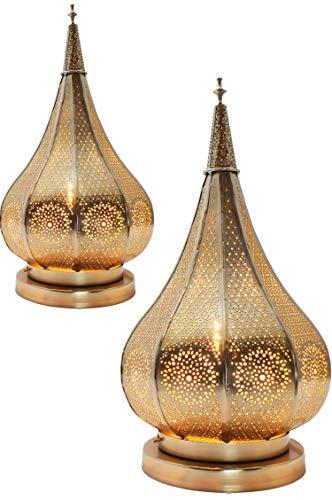 2er Set Orientalische kleine Tischlampe Lampe Kais 38cm Silber E14 | Marokkanische Tischlampen klein aus Metall, Lampenschirm | Nachttischlampe modern, Vintage, Retro & Landhaus Stil Design