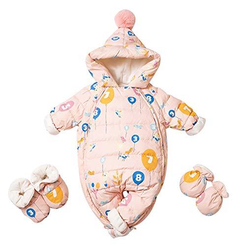 Famuka Baby Schneeanzug Daunenanzug Jungen Mädchen Winter Strampler (Rosa, 3-6 Monate)