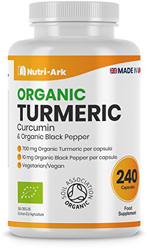 Organic Turmeric Curcumin 700mg per Capsule, 240 Turmeric Capsules High Strength with Organic Black Pepper