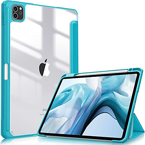 """Fintie Hybrid Slim Case for iPad Pro 11-inch (3rd Generation) 2021 - [Built-in Pencil Holder] Shockproof Cover w/Clear Transparent Back Shell, Also Fit iPad Pro 11"""" 2nd Gen 2020, Legacy Teal"""