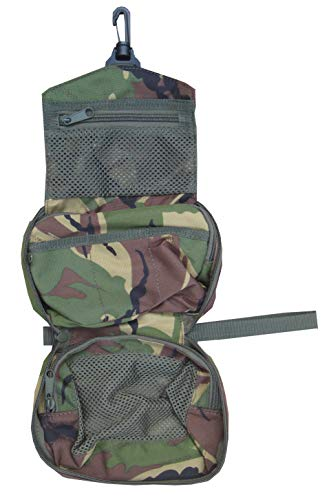 Mens British Army Military Hanging Wash Shave Toilet Travel Bag Kit Roll DPM Camo
