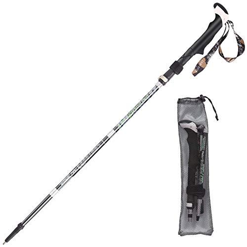 HYDT Bâton de Marche, Bâtons de randonnée Longs bâtons de Marche Pliables de 38 cm, bâtons de randonnée légers en Alliage de Carbone pour Hommes, Ajustable Rapide Flip-Lock (Color : Black)