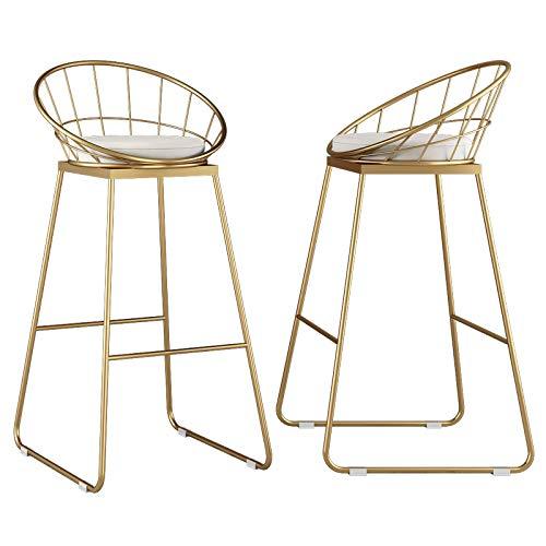 Modernas sillas de comedor de cocina, Taburete de bar Pack 2 Silla de bar, Terciopelo Tapizado, Patas de metal dorado, Altura...