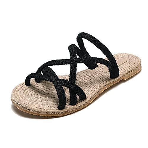CCSSWW Sandali da Doccia E da Bagno,Sandali MA Sandali Summer Appartamento-Nero_36,Semplici Pantofole Moda