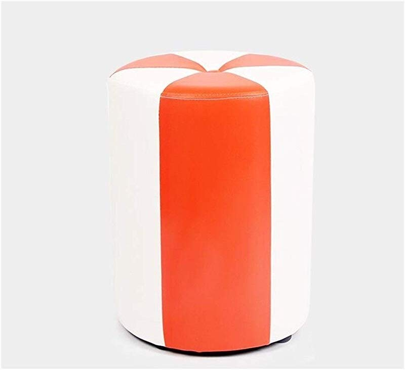 Carl Artbay Wooden Footstool White Orange Cylinder Low Stool Make Up Stool Children S Leather Stool Waterproof Home