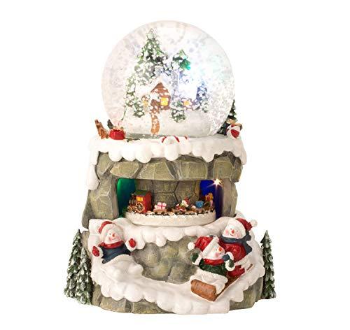 Lifestyle & More Wunderschöne LED Schneekugel Weihnachten Glitzerkugel Weihnachtsdorf mit Musik Höhe 21 cm Ø10 cm