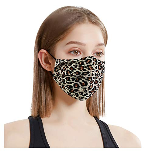Simayixx Einstellbare Ohrbügel Mund und Nasenschutz mit Leopard Cashew Muster Atmungsaktive Staubdichte Baumwolle Waschbar Mundschutz UV-Schutz Anti-Dunst Bandana Schal Multifunktionstuch
