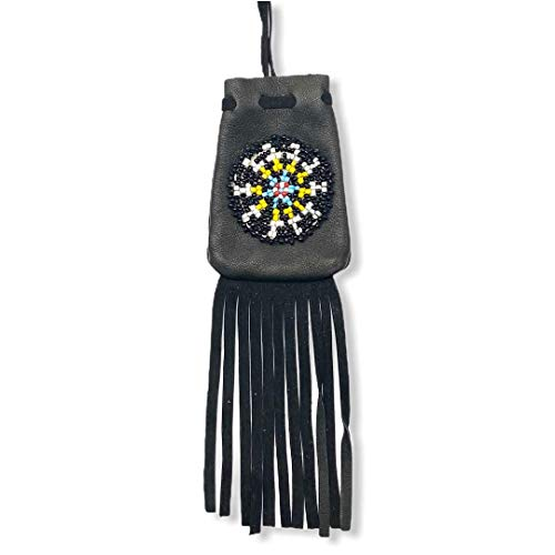 Genuine Native American Handmade Medicine Pouch, Leather and Traditional Bead Work and Fringe with Drawstring Closure, Southwest Bohemian Style Bag For Keepsakes, Wearable As A Necklace, Unisex