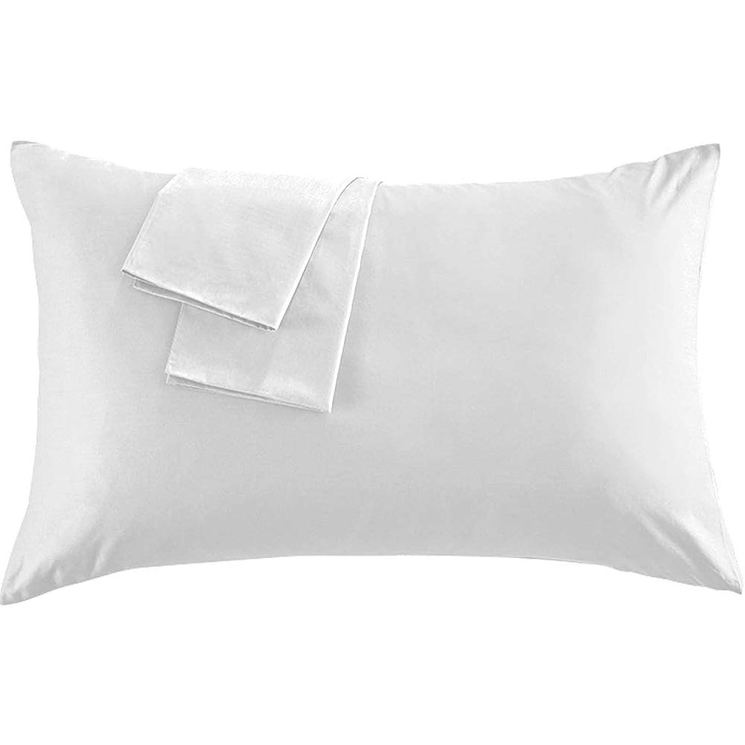 値下げレジ専ら枕カバー 上質な綿100% 300本高密度生地 ホテル品質 雲のように柔らかな手触りがあり 封筒式 防ダニ 抗菌 防臭 選べる9色 3サイズ (35×50cm, ホワイト)