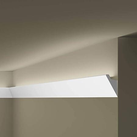 color blanco perfil ornamental Barra de estuco AB273 poliuretano 2 metros iluminaci/ón LED indirecta transici/ón en el techo y la pared 180 x 82 mm superficie lisa pre-imprimada