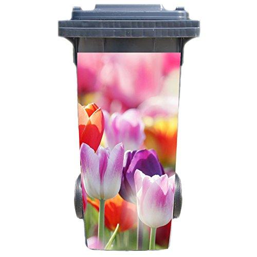 Aufkleber für Mülltonne Mülltonnenaufkleber - Motiv Tulpen