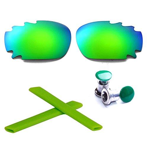 Walleva Vented Polarized Vented Linsen + Gummi + Bolzen Für Oakley Racing Jacket(Smaragd - polarisiert)