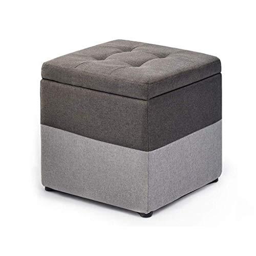 ykw Fußhocker Hocker Aufbewahrungsbox Cube Pouffe Chair Square mit Deckel und abnehmbarem Leinenbezug Fußstützenverband