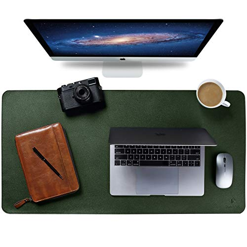Upgrade Knodel Alfombrilla de escritorio, Estera del escritorio de oficina, Vade para escritorio hecho de cuero PU, alfombrilla del escritorio del ordenador portátil, Doble cara (4390, Verde oscuro)