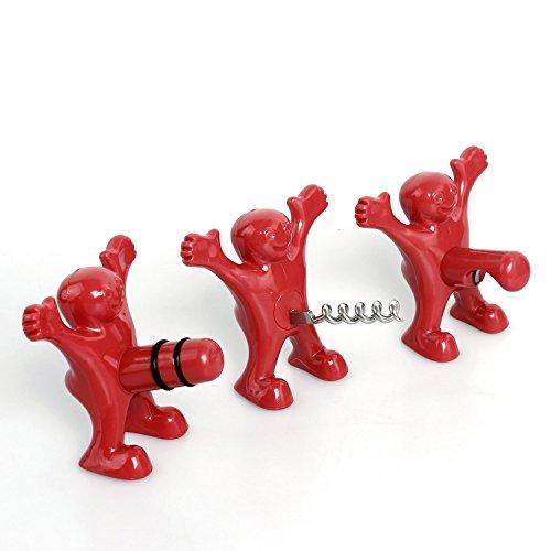 Smartlife tappo per bottiglia di vino e apribottiglie set, includes Three cute Red uomini di novità apribottiglie, cavatappi e tappo per uomini e donne