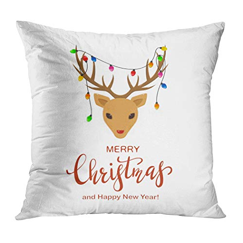 Vooft Throw Pillow Decor Square Antler Reindeer Head Christmas Lights Antlers 20 x 20 Inch Decorative Cushion Cover Printed Pillowcase Cover Home Sofa Living Room