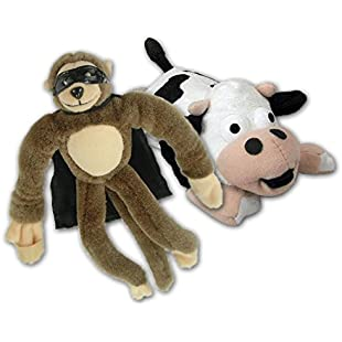 Flingshot Slingshot Stuffed Animal Toys - Screeching Black & White Cow and Amazing Brown Monkey - Pack of 2:Abra-sua-mei