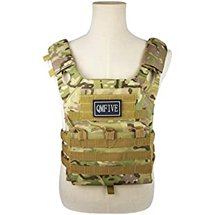 QMFIVE Airsoft Vest, Plate Carrier, JPC Tactical Combat Vest Military Wargame Molle Plate Carrier Hunting Outdoor Uniform Combat Gear (MC):Superclub