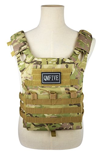 QMFIVE Airsoft Vest, Plate Carrier, JPC Tactical Combat Vest Military Wargame Molle Plate Carrier Hunting Outdoor Uniform Combat Gear (MC)