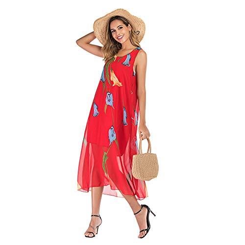 YYH Dames strandjurk drukverpakking losse jurk Flowy Beach Party Casual Maxi jurk Large 4